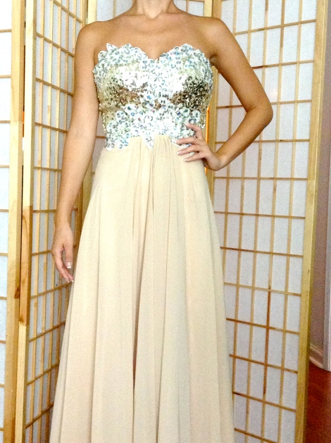 BRAND NEW, Never worn champagne evening gown. Size 0-00 $250 + Shipping. Email brickellsisters@gmail.com to purchase