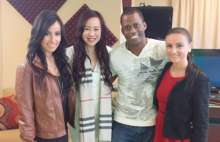 Emilyn Teh with Lady Code and Rohan Williams at the VSP Productions World Wide studio