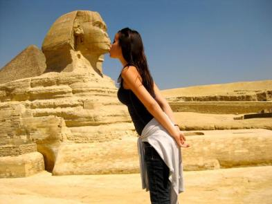 Kissing the Sphinx in the Giza Necropolis, Egypt