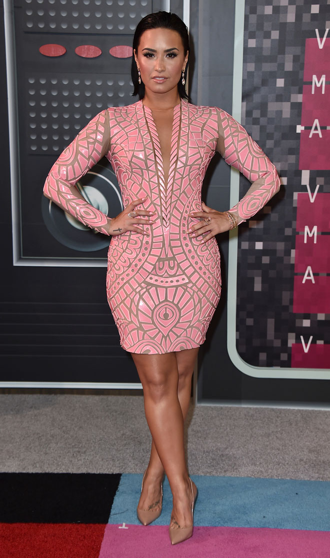 Demi Lovato-mtv-video music awards 2015 pink outfit fashion blog top 10 look