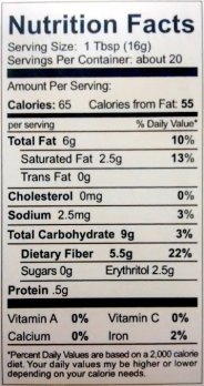 Go Lo's Dark Hazelnut Spread Nutrition Facts for a ONE tablespoon serving