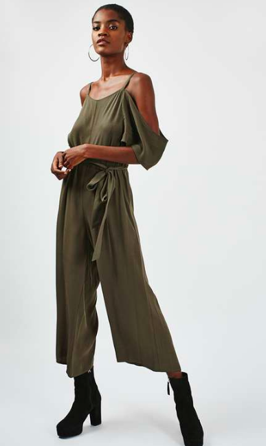 fall off the shoulder jumpsuit topshop