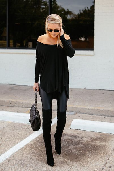 how to wear off the shoulder top in the wnter